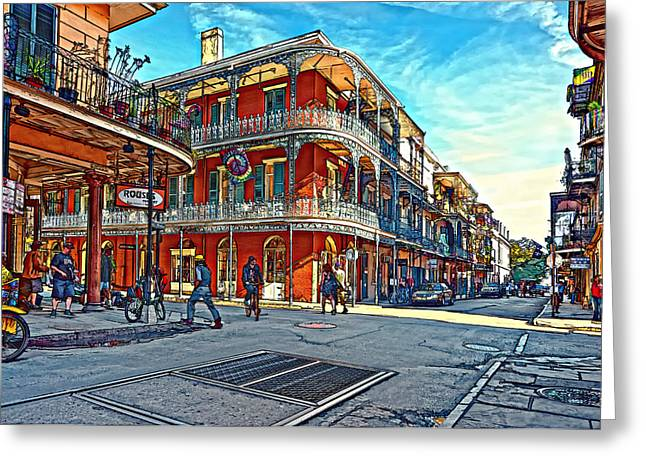 In The French Quarter Painted Greeting Card by Steve Harrington