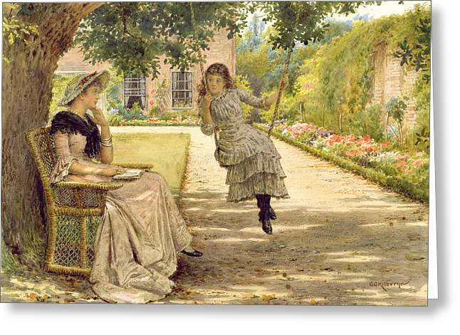 In The Garden Greeting Card by George Goodwin Kilburne