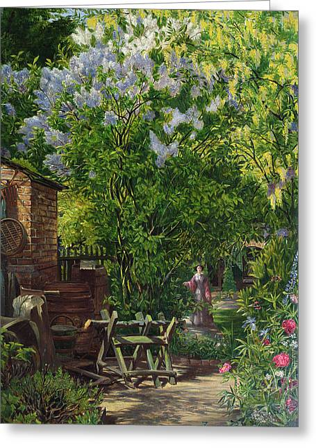 In The Garden  Greeting Card by William John Montaigne