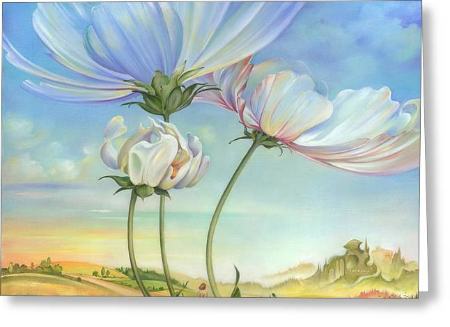 Greeting Card featuring the painting In The Half-shadow Of Wild Flowers by Anna Ewa Miarczynska