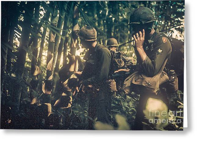 In The Jungle - Vietnam Greeting Card by Edward Fielding