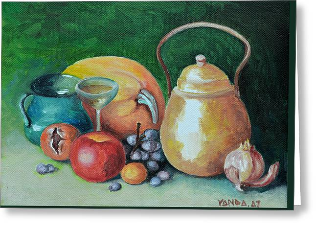 In The Kitchen Greeting Card by Vanda Caminiti