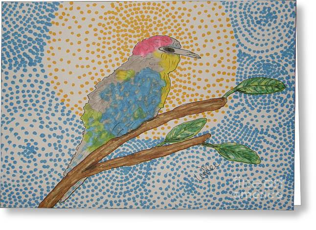 In The Leaves Greeting Card by Marcia Weller-Wenbert