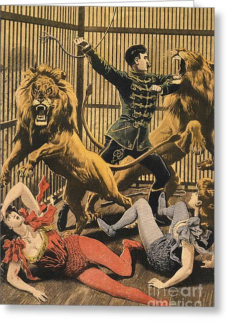 In The Lion�s Cage 1910s Uk Lion Tamers Greeting Card by The Advertising Archives