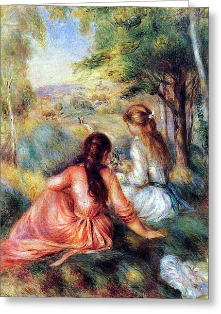 Greeting Card featuring the painting In The Meadow by Pierre-Auguste Renoir