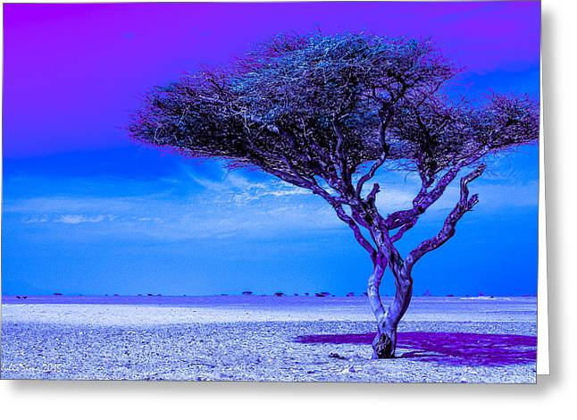 In The Middle Of Nowhere Under A Purple Sky Greeting Card