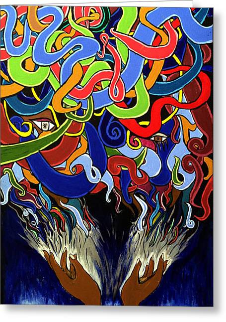 In The Midst - Abstract Art Painting  - Ai P. Nilson Greeting Card