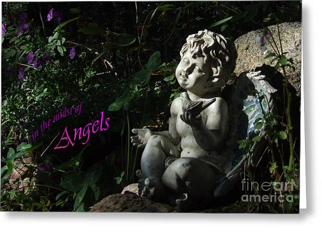 in the midst of Angels Greeting Card