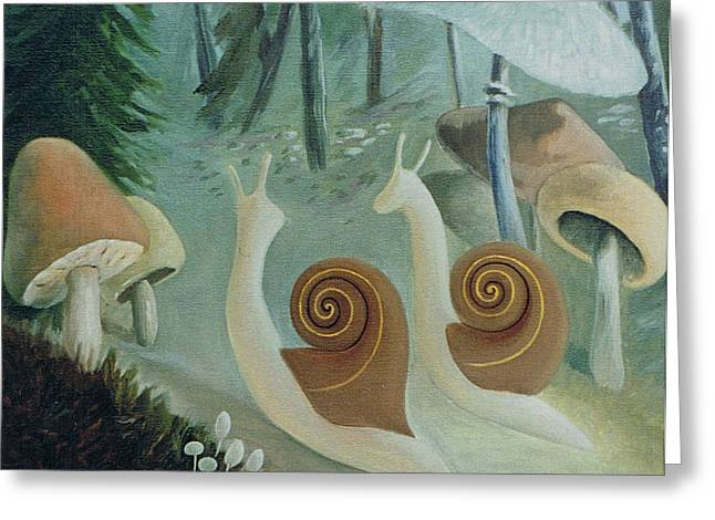 In The Mushroom Forest Greeting Card