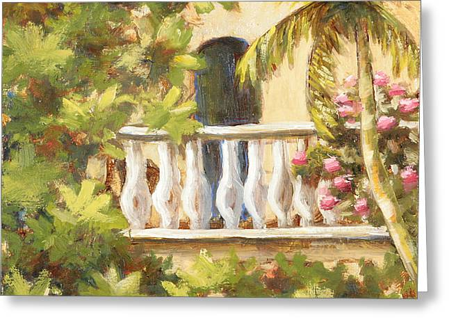 In The Oasis With Gold Leaf By Vic Mastis Greeting Card by Vic  Mastis