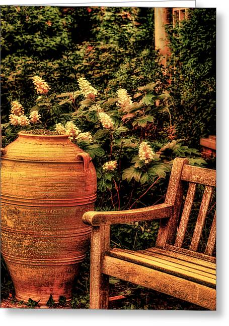 In The Old English Garden Greeting Card by Julie Palencia