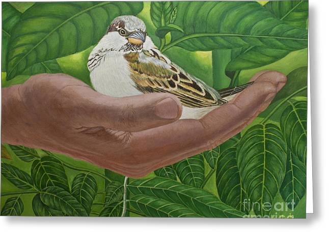 In The Palm Of His Hand Greeting Card