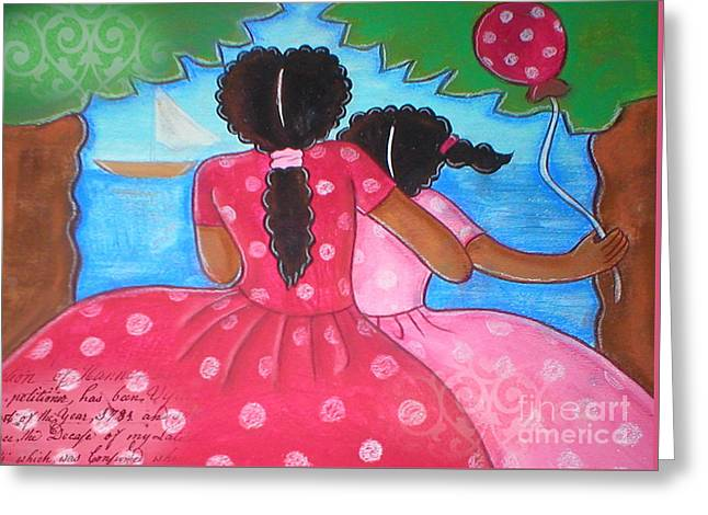 in the park by the sea by Elaine Jackson Greeting Card