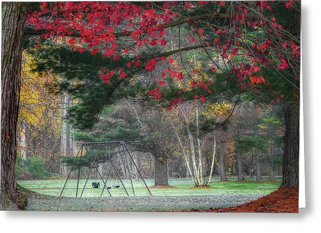 In The Park Square Greeting Card by Bill Wakeley