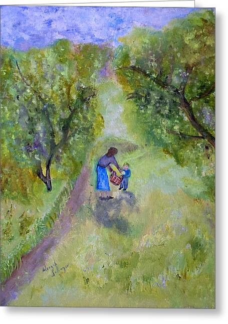 Greeting Card featuring the painting In The Pear Orchard by Aleezah Selinger