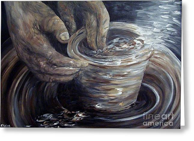In The Potter's Hands Smaller Version Greeting Card by Eloise Schneider