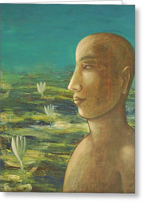 Greeting Card featuring the painting In The Realm Of Buddha by Mini Arora