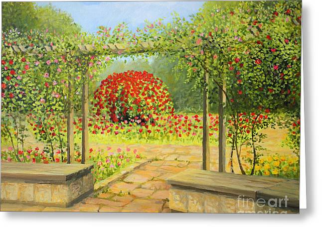 In The Rose Garden Greeting Card by Kiril Stanchev