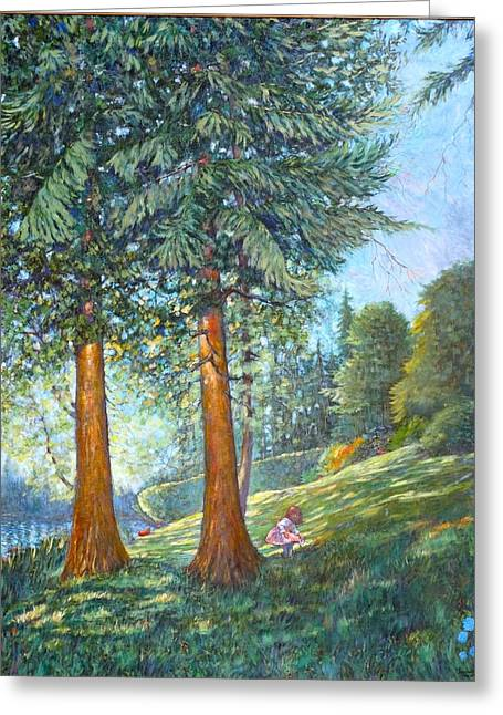 Greeting Card featuring the painting In The Shade by Charles Munn
