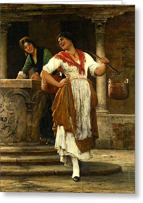 In The Square Greeting Card by Eugene de Blaas