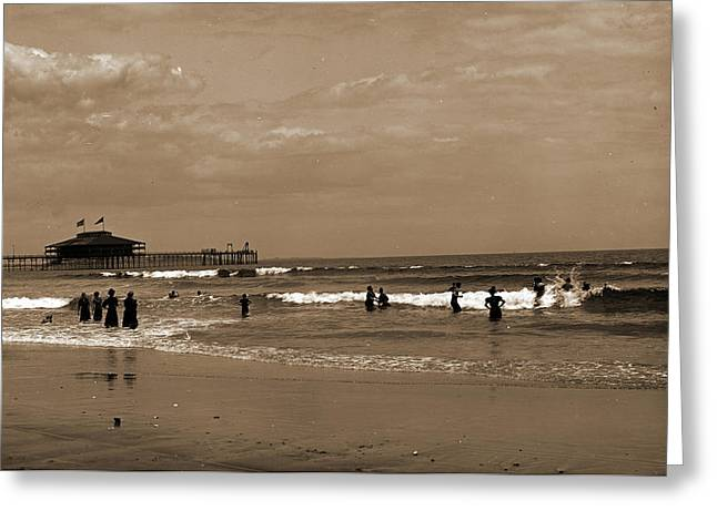 In The Surf At Old Orchard, Maine, Beaches Greeting Card by Litz Collection