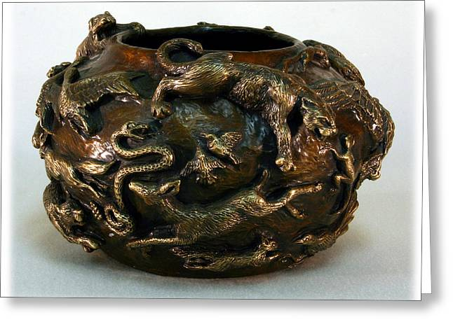 In The Wild - Bronze Bowl With Mountain Lion Greeting Card by Dawn Senior-Trask