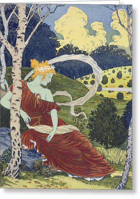 In The Woods, From Lestampe Moderne Greeting Card by Eugene Grasset