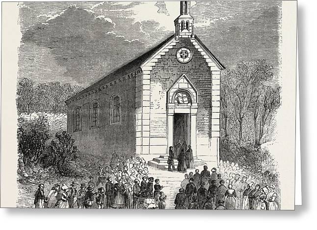 Inauguration Of A Protestant Church In Conde-sur-noireau Greeting Card by French School