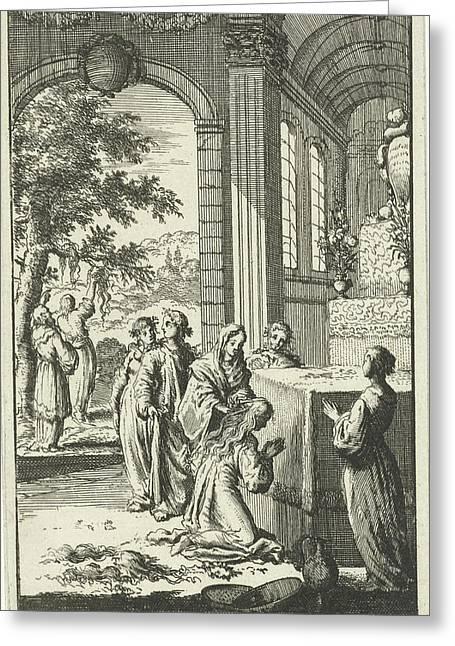 Inauguration Of Pyrophylactic Virgins, Jan Luyken Greeting Card by Jan Luyken And Jan Claesz Ten Hoorn