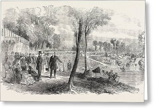 Inauguration Of The Cascades In The Bois De Boulogne Paris Greeting Card
