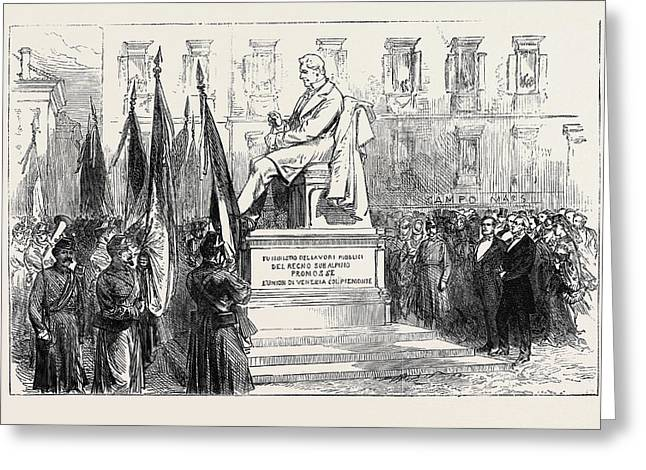 Inauguration Of The Statue Of Paleocapa At Turin 1871 Greeting Card