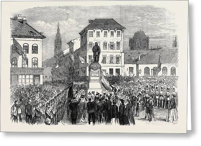 Inauguration Of The Statue Of Teniers At Antwerp Belgium Greeting Card