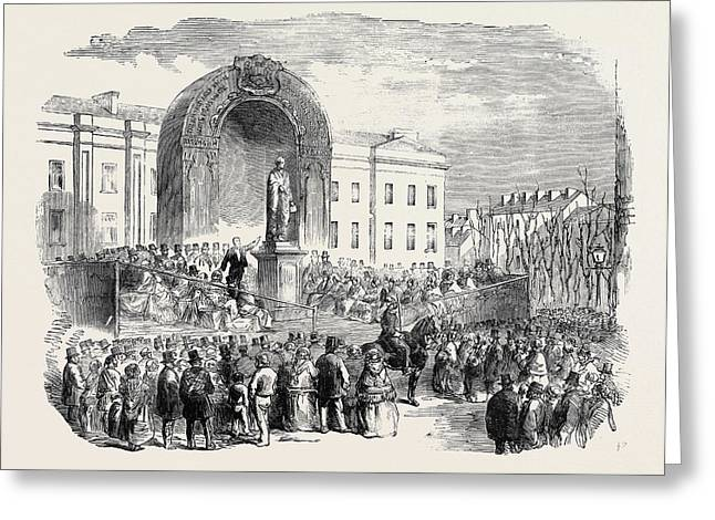 Inauguration Of The Statue Of The Late Earl Of Belfast Greeting Card