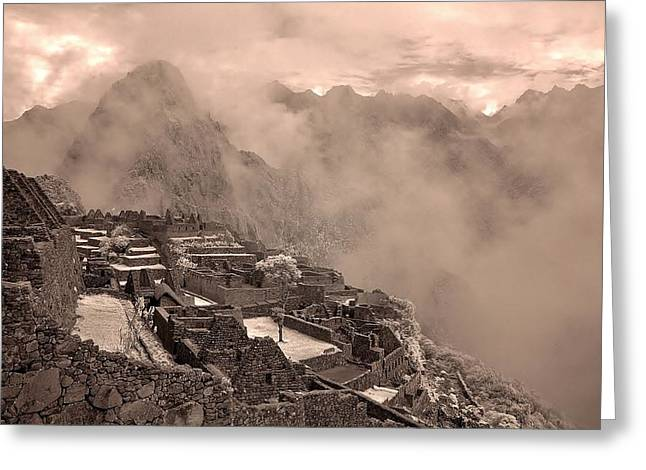 Inca Ruins Machu Picchu Peru Greeting Card by Erik Poppke