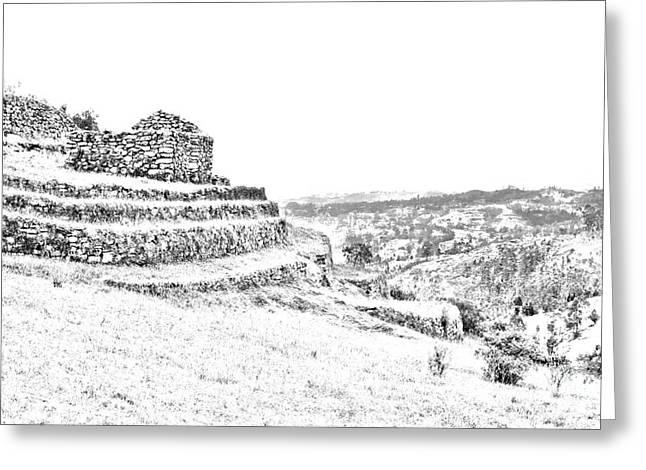 Inca Ruins On Cojitambo In Ecuador Greeting Card