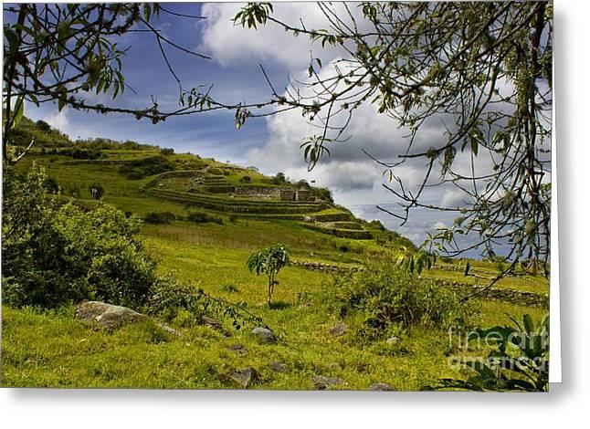 Inca Ruins On Mount Cojitambo In Ecuador Greeting Card by Al Bourassa