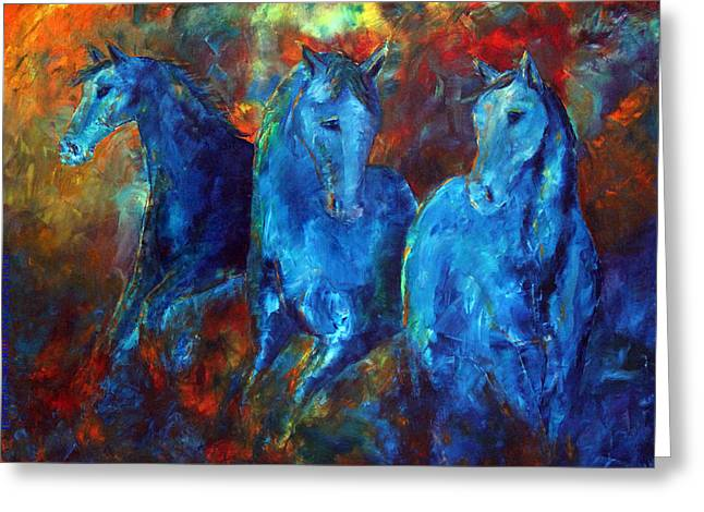 Abstract Horse Painting Blue Equine Greeting Card