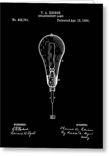 Thomas Edison Incandescent Lamp Patent 1890 - Black Greeting Card