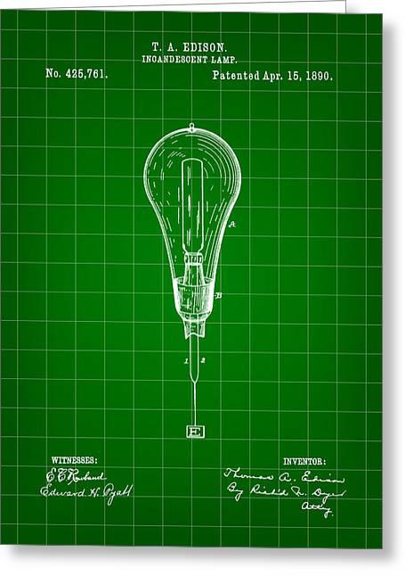 Thomas Edison Incandescent Lamp Patent 1890 - Green Greeting Card
