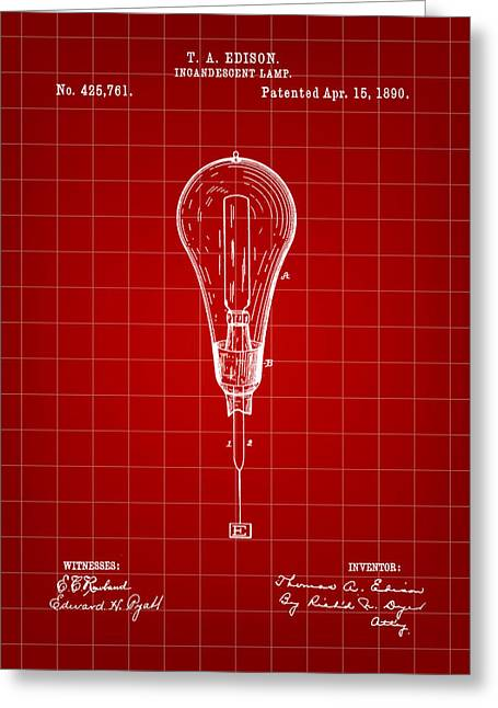Thomas Edison Incandescent Lamp Patent 1890 - Red Greeting Card