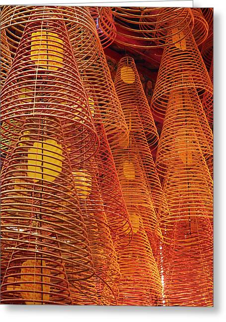 Incense Coils Inside Ong Pagoda Greeting Card