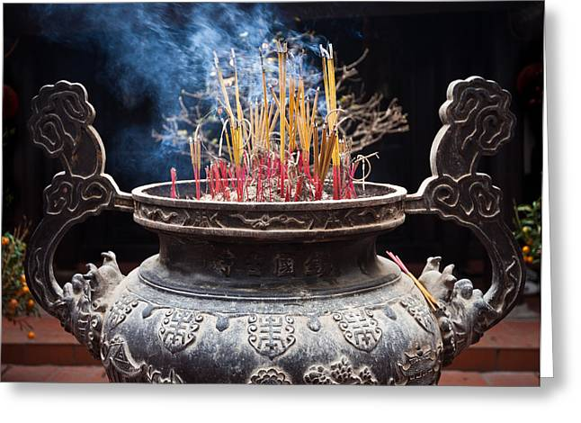 Incense Sticks Burn In Large Ceremonial Temple Urn Greeting Card