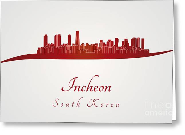 Incheon Skyline In Red Greeting Card