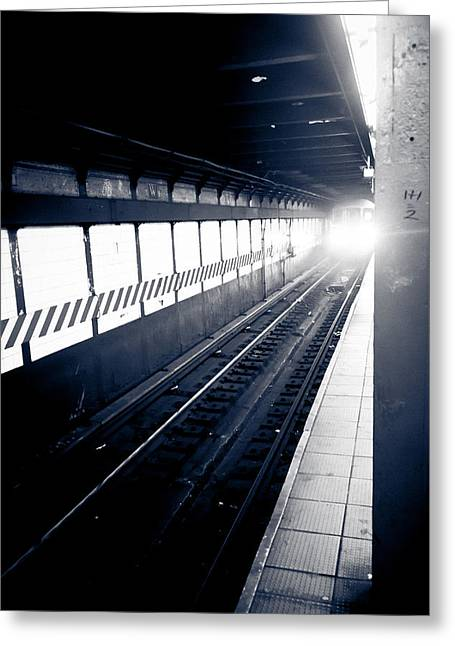 Greeting Card featuring the photograph Incoming At The Subway - New York City by Peta Thames