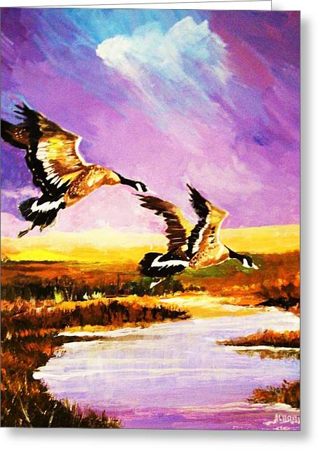Greeting Card featuring the painting Incoming Geese by Al Brown