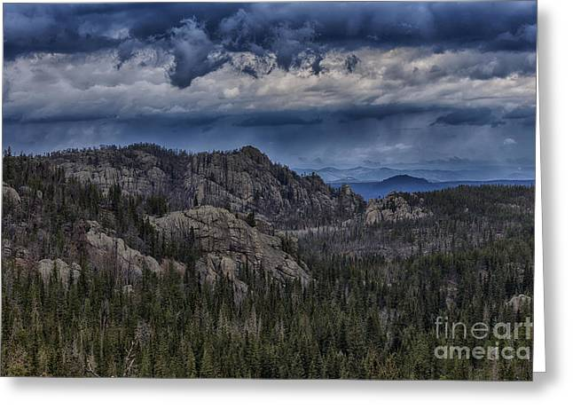 Incoming Storm Over The Black Hills Of South Dakota Greeting Card