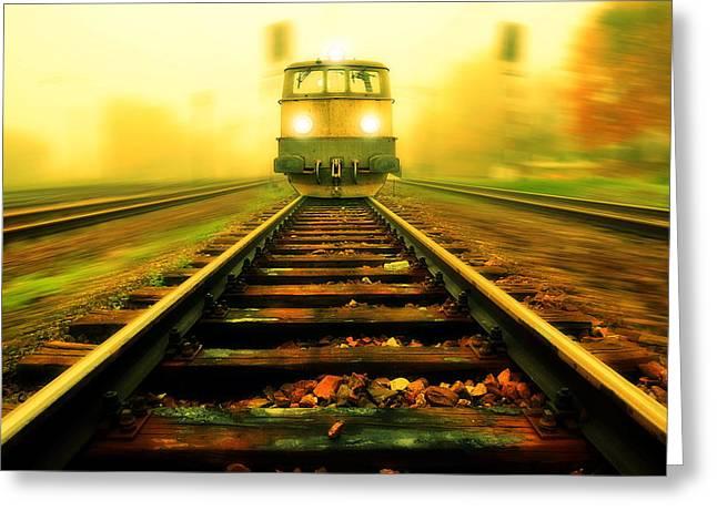 Incoming Train Greeting Card by Jaroslaw Grudzinski