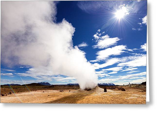 Incredible Landscape In North Iceland Hverir Fumarole Field Greeting Card by Matthias Hauser