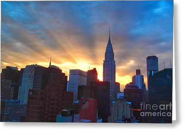 Incredible New York Skyline Sunset Greeting Card by Miriam Danar