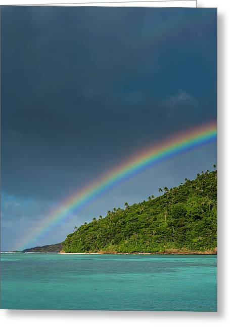 Incredible Rainbow Over An Islet Of Ofu Greeting Card by Michael Runkel